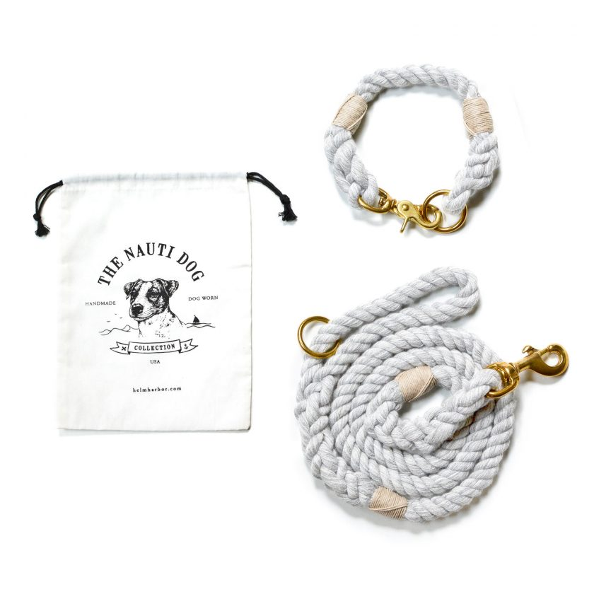 nautical dog collar and leash in gray