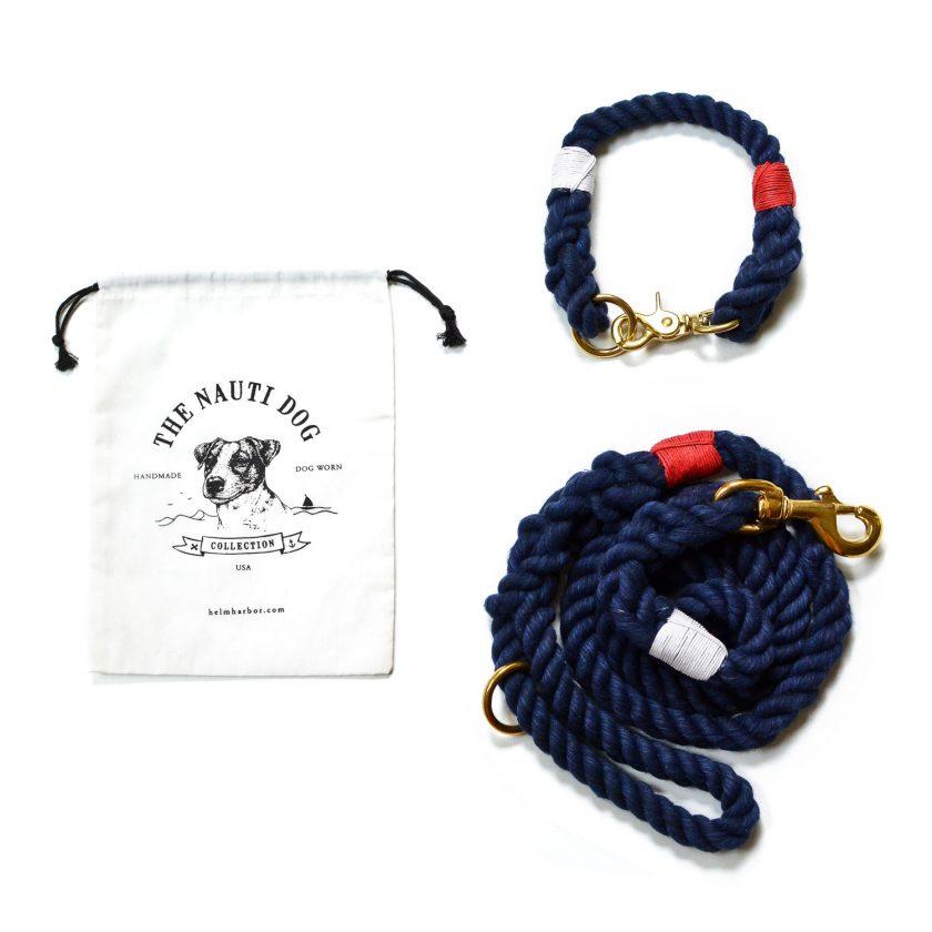 dog collar and leash set nay