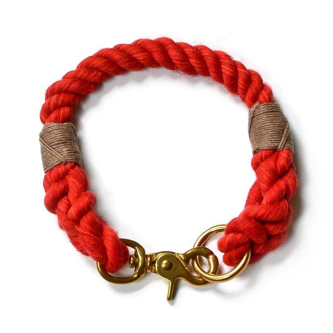 red nautical rope dog collar
