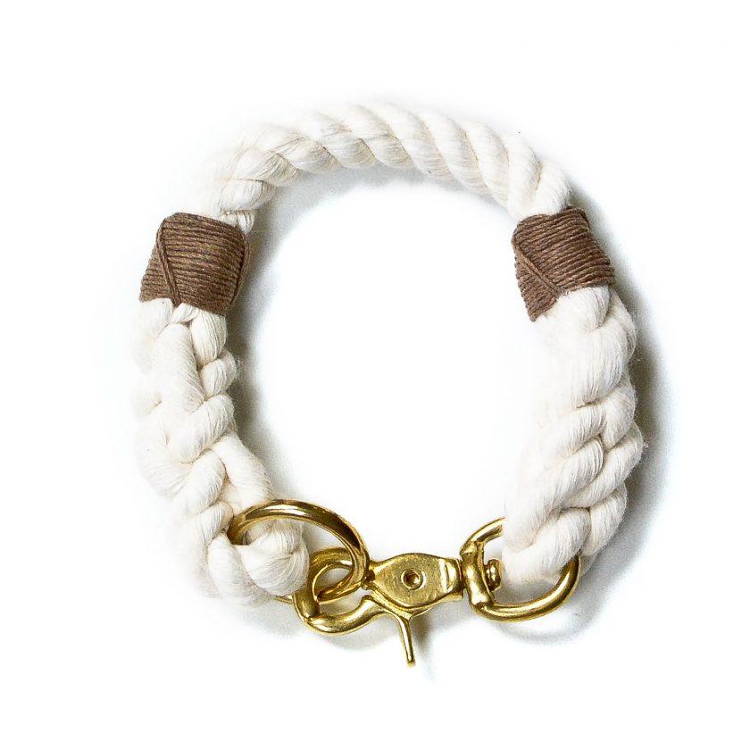 Nautical rope dog collar in white