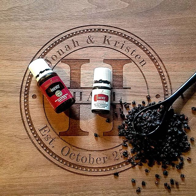 Dried elderberries and Young Living essential oils