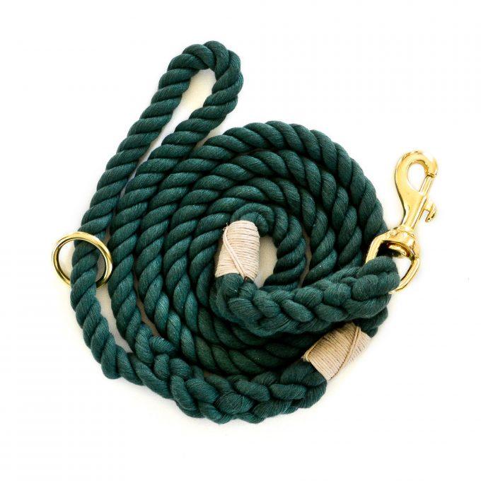 Hunter green cotton dog leash