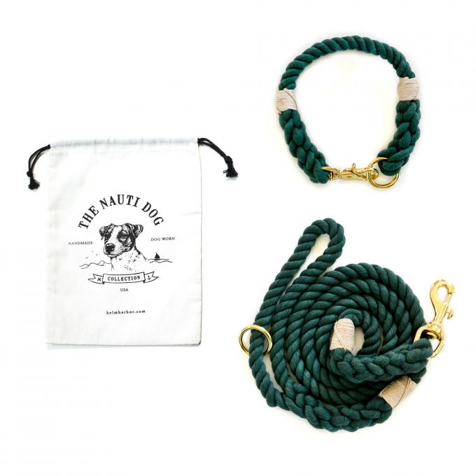 Hunter Green matching dog collar and leash set made from 100% cotton rope and hemp twine