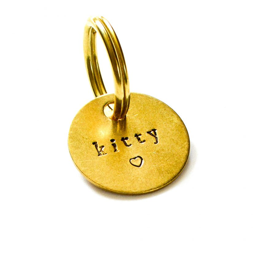 name and heart dog tag
