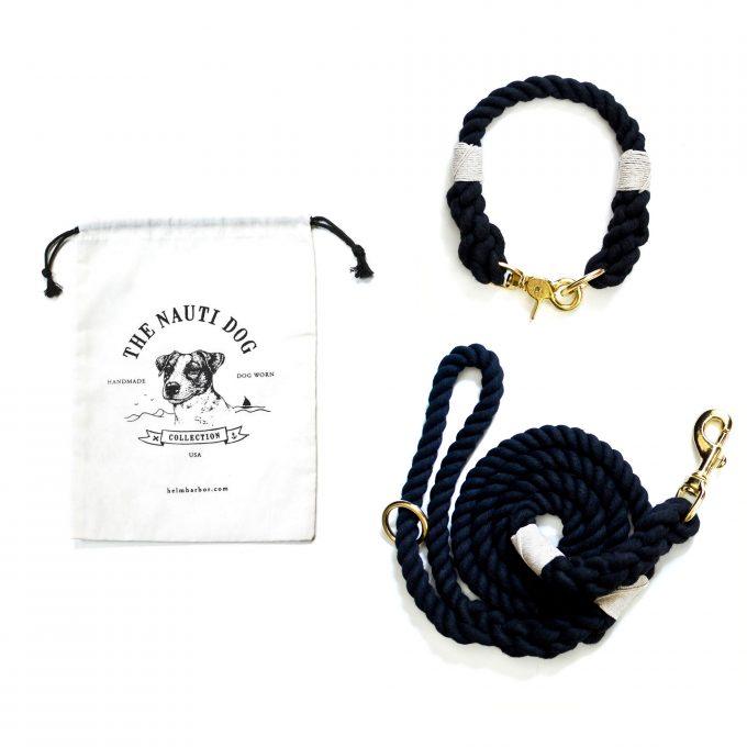 black dog leash and collar