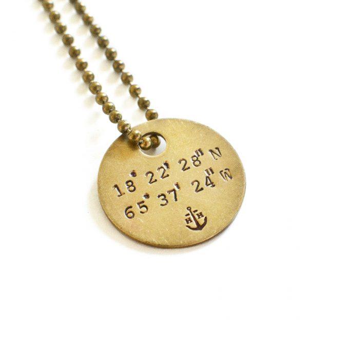 custom gps coordinates necklace
